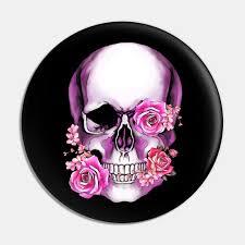 sugar skull skull art fl pink