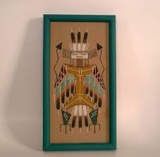 sand painting thunderbird by the famous navajo artist be southwestern native american wall hanging 1980s vintage home decor