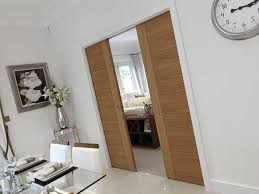 oak sliding double pocket doors