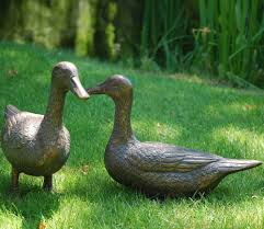pair of ducks metal garden ornaments