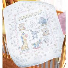 The Lullaby Friends Baby Quilt Stamped Cross Stitch Kit from ... & The Lullaby Friends Baby Quilt Stamped Cross Stitch Kit from Bucilla is a  sweet design featuring friendly toy animals. This stamped baby quilt embr… Adamdwight.com