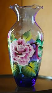 painting glass vases ideas classic decoration themes motive flower red pink blue humming birds