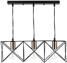 dar midi matt black 3 light pendant bar with copper detail mid0322