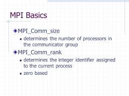 mpi comm size cs 484 message passing based on multi processor set of independent