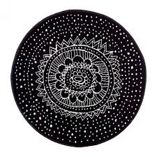 shining round black rug white designs