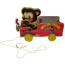 vintage 1949 fisher wooden pull toy teddy tucker cameo antique mall ruby lane