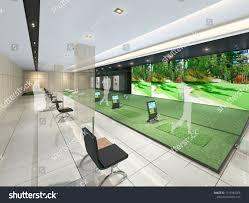 Driving Range Design 3d Rendering Indoor Golf Driving Range Stock Illustration