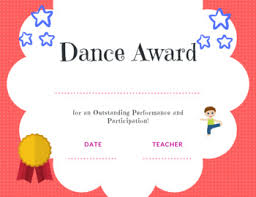 Dance Award Certificate Dance Award Certificate Boy