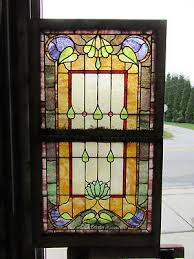 antique stained glass windows double hung set architectural salvage