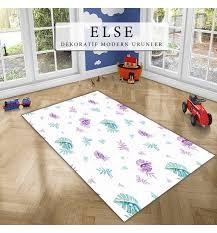 else purple green fl leaves modern geometric 3d print non slip microfiber children kids room decorative area rug mat