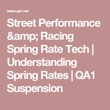 Street Performance Racing Spring Rate Tech Understanding
