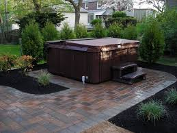 Graceful Paver Patio Design With Outdoor Hot Tub