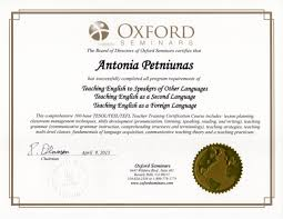 tesl oxford seminars diploma  3 oxford s e m i n a r s the board of directors of oxford seminars certifies that flntonia