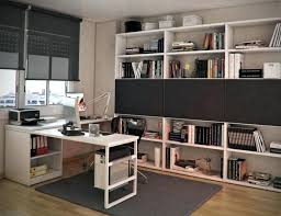 home office decor computer. Dark Grey Home Office Decoration Using Rectangular White Wood Two Person Computer Desk Including Rug Chair Mat And Bookshelf In Decor T