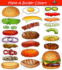 hamburger patty clipart. Modren Patty Build A Burger Make Hamburger Clipart Bundle Intended Patty E