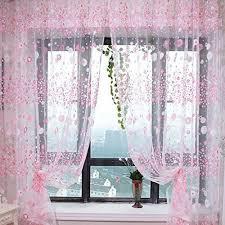 Small Flower Tulle Voile Door Window Curtain Pink Drape Panel Sheer Scarf  Valances For Bedroom Bathroom Living Room Childrenu0027s Room
