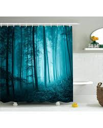 teal shower curtains teal shower curtain foggy dark country forest print for bathroom teal fabric shower