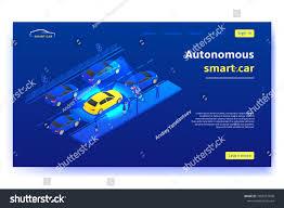 Smart Signs And Designs Concept Banner Autonomous Smart Car Smart Stock Vector