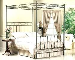Wood Canopy Bed Twin Cherry Solid Frame Dark King Black Home ...