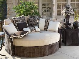 Exterior:Entertaining Outdoor Furniture Lounge Bed With Wicker Floating Bed  And Zebra Print Cushion Ideas