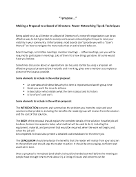 Writing A Proposal Example I Propose Making A Proposal To A Board Of Directors Power Network