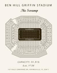 Edward Jones Dome Seating Chart Football Benn Hill Griffin Stadium Seating Chart Florida Gators University Of Florida Gifts For Men Paper First Anniversary Florida Artwork