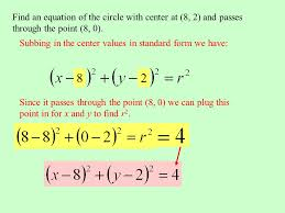 find an equation of the circle with center at 8 2 and p