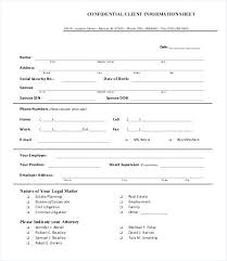 Confidential Client Information Sheet Contact Form Template Word