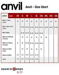 Anvil T Shirts Size Chart Anvil 988an Lightweight T Shirt Amazon Com
