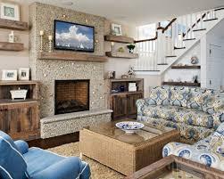 floating shelf next to fireplace