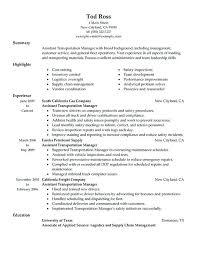 Transportation Resume
