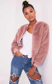 jessenia mauve soft faux fur er jacket 1