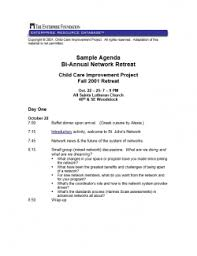 Sample Of Agenda Sample Agenda Bi Annual Network Retreat For Home Based