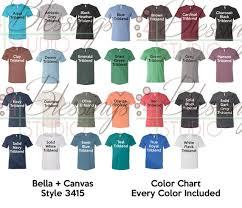 Bella Canvas 3415 Color Chart Every Color Digital File Shirt Unisex Triblend Short Sleeve V Neck Tee Available Colors Psd Jpeg Jpg