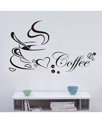 coffee cup with heart vinyl e restaurant kitchen removable wall stickers diy home decor wall art