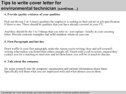 environmental technician cover letter tech cover letter