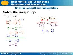 8 solving logarithmic inequalities