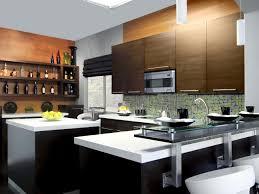 Kitchen:Modern Kitchen, Twin Islands, Marble Bench Top Sleek Apartment  Kitchen Idea With