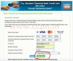 pay standard chartered credit card bill through billdesk window
