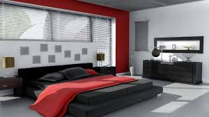 black bedding with white walls and red accent for bold modern