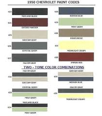 Chevy Stock Chart 1950 Chevrolet Body Colors