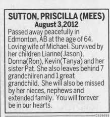 Obituary for PRISCILLA SUTTON (Aged 64) - Newspapers.com