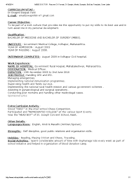 Mbbs Doctor Resume Cv Format Cv Sample Model Example Biodata
