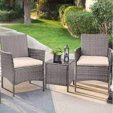 walnew 3 pieces outdoor patio furniture