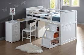 furniture white low full size loft bed with desk and storage full size loft