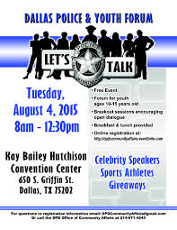 flyers forum dallas police and youth forum lets talk dpd beat