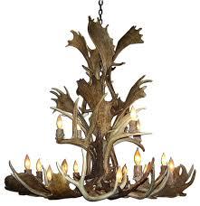 fallow mule deer cascade antler chandelier light extra large no shades