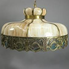 arts and crafts antique art and crafts filigree slag glass hanging chandelier circa 1920 for