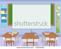 classroom table vector. illustration of a classroom with huge projector screen in front table vector