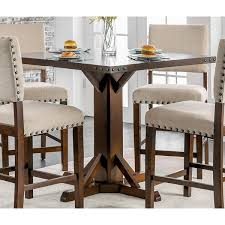 kitchen dining room tables furniture of america banea rustic nailhead brown cherry counter height table cherry brown